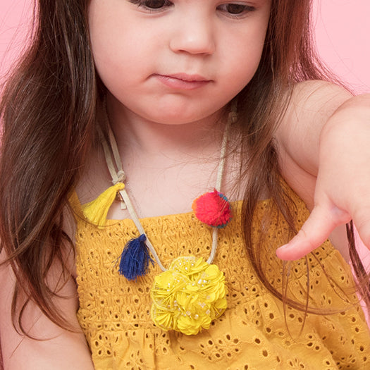 Noho Yellow Flower Kids Pom Pom Necklace