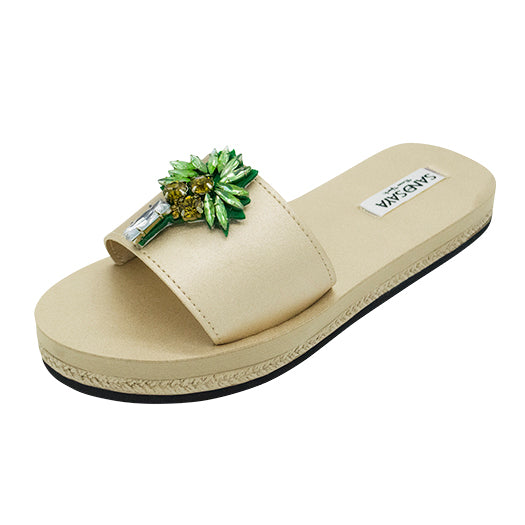 Palm Tree - Waterproof Espadrilles Flat Sandals - Sand by Saya