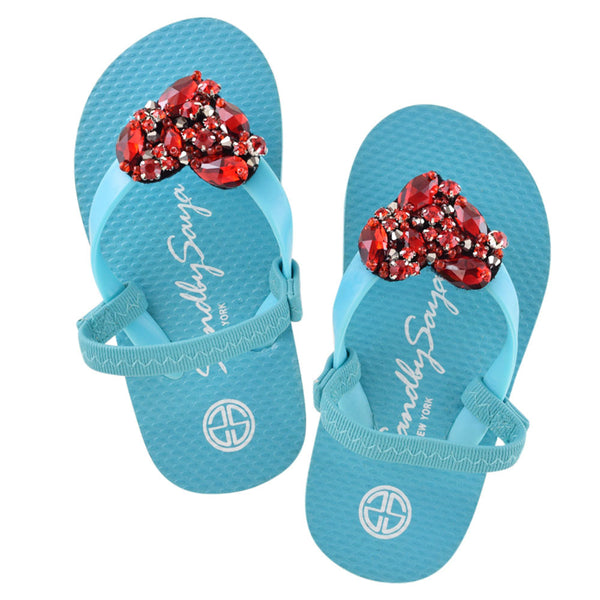 Sky Blue Kids / Baby Sandals Cute, Heart, Summer, Handmade, red
