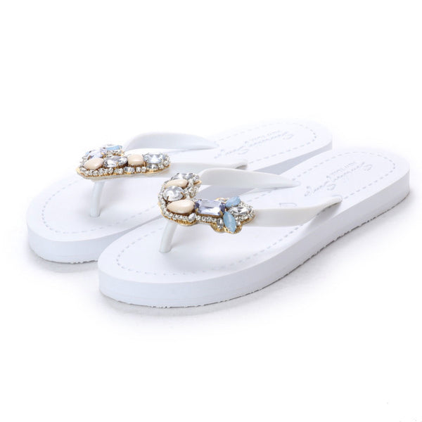 York - Women's Flat Sandal, Blue, Beaded, Crystal