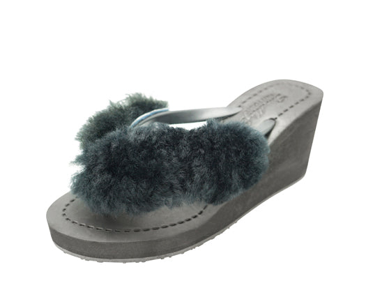 Sheep Fur - Black High Wedge