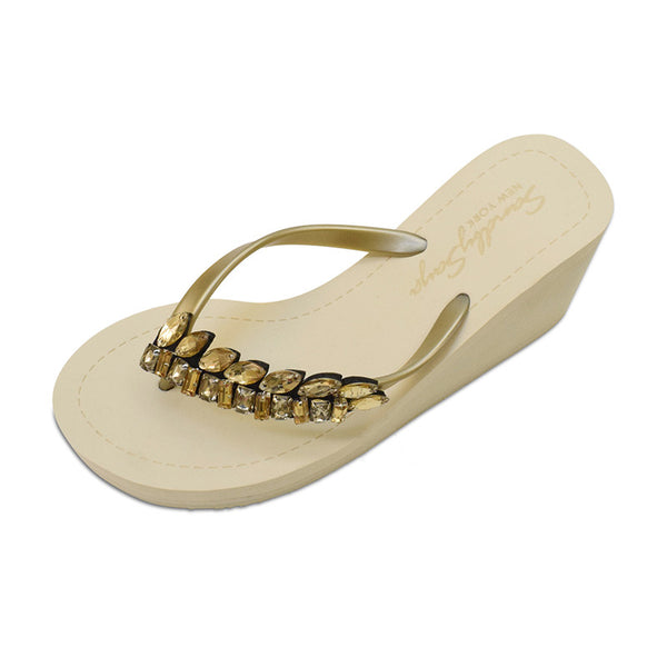 Gold Women's High heels Sandals with Smith, Flip Flops summer
