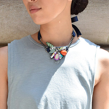 Multicolor stones, orange, pink, blue and green