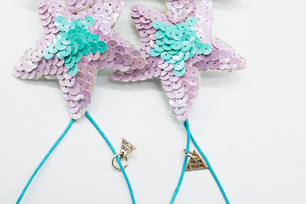 Long Christmas Ornament - Pink or Blue Stars (Set of 2)