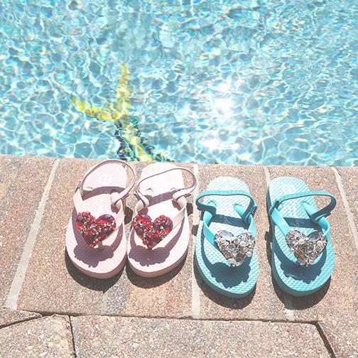Sky Blue Kids / Baby Sandals Cute Heart Image summer handmade