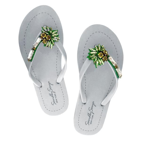Palm Tree Gray Flat Sandals