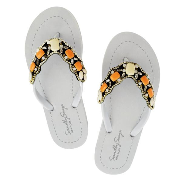 Orange sunset park flat gray sandals