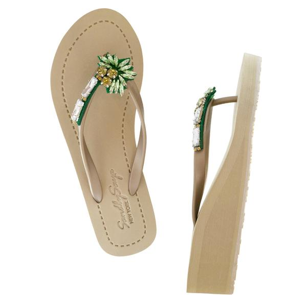 Palm tree gold mid wedge sandals