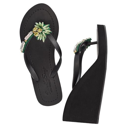 Palm tree high wedge black sandals