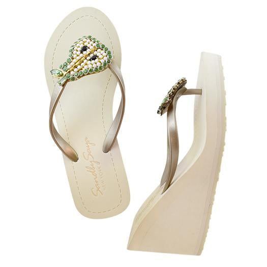 Pear gold high wedge sandals