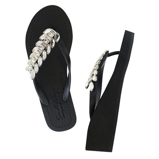 Smith double crystal black mid wedge sandals