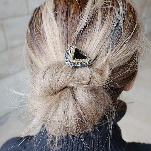 Swarovski black triangle hair tie