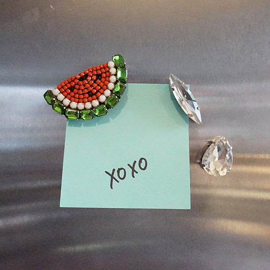 Watermelon and crystal studs magnets