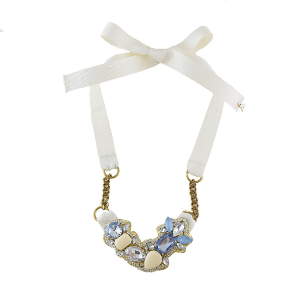 York Necklace, Blue, white, crystal Beaded, Crystal
