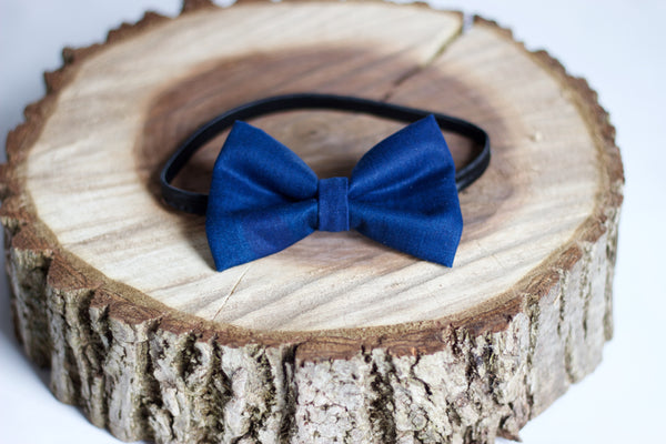 Navy Denim Bow Tie