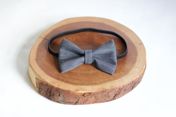 Grey Denim Bow Tie