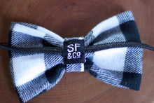 Black & White Buffalo Plaid Bow Tie