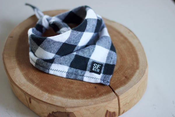 Black & White Buffalo Plaid Bandana