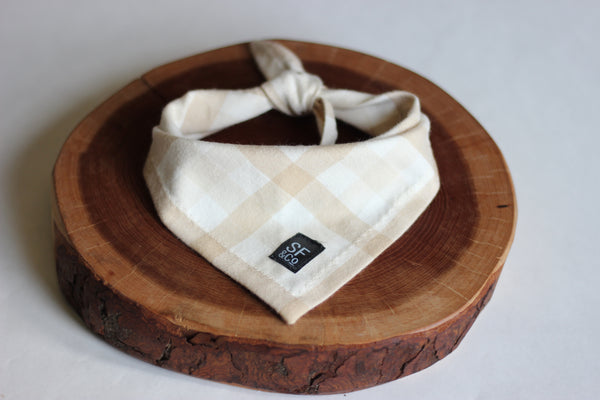 Beige Buffalo Plaid Bandana