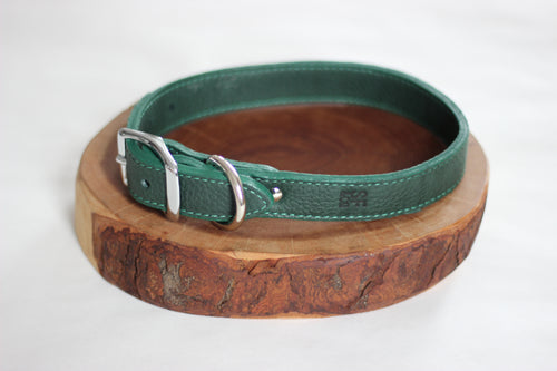 Forest Green Leather Collar
