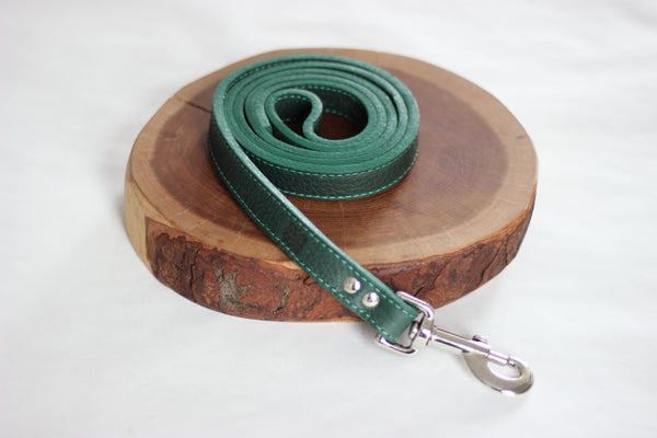 Forest Green Leather Leash