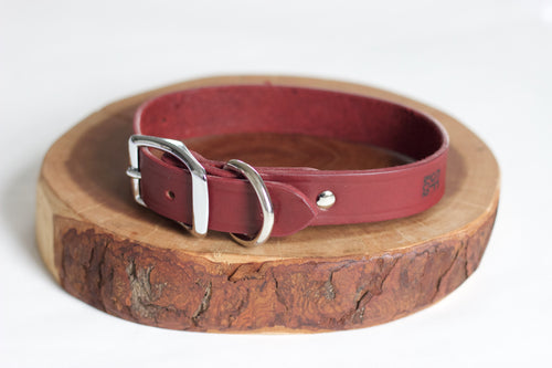 Oxblood Leather Collar (only available in XL)