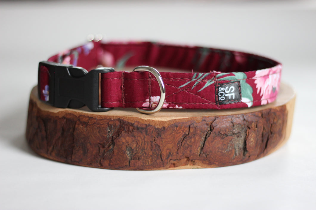 Maroon Floral Collar (only available in XS/S + S)