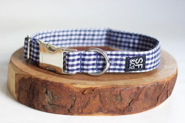 Navy Gingham Collar