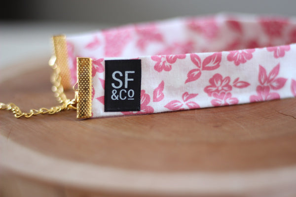 Pink Floral Choker