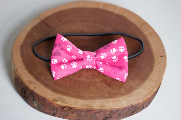 Pink Paws Bow Tie