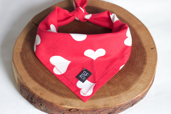 Red & White Hearts Bandana