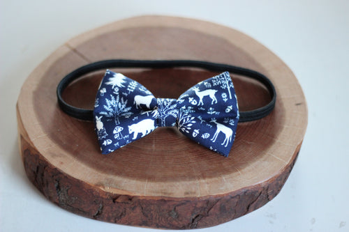 Navy Woodland Creatures Bow Tie