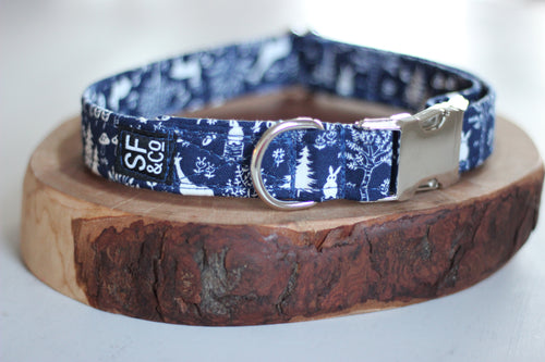 Navy Woodland Creatures Collar