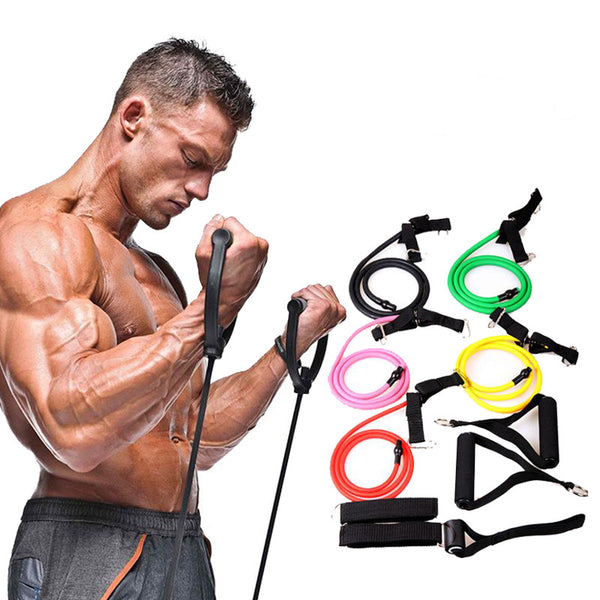 Single Fitness Resistance Bands with handles  for Home and hotel work outs