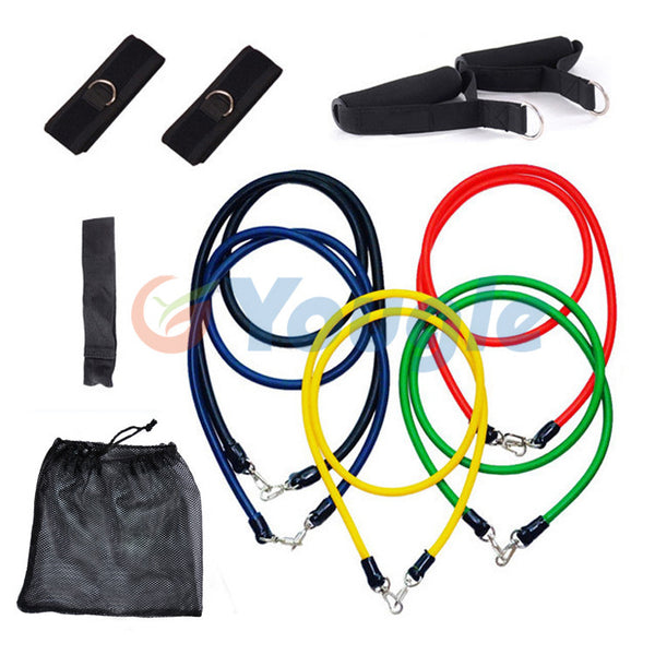 11 piece resistance bands set portable gym for home and hotel work outs