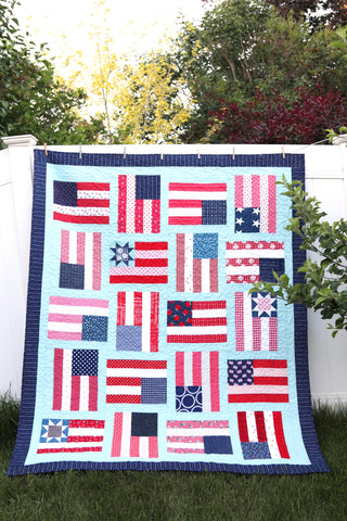 Flying Flags Quilt KIT - Aqua Linen Version
