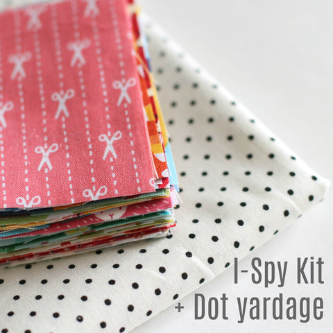 "65 I-Spy 3.5"" x 3.5"" Squares Kit + 5/8 Yard Black Dots + Quilt Pattern"