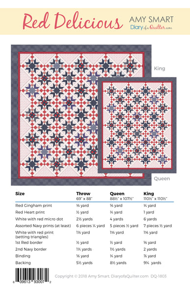 Red Delicious - Star Quilt Pattern - PDF VERSION