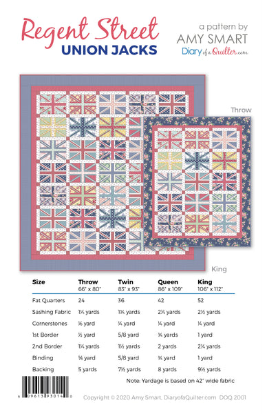Regent Street Union Jack Quilt Pattern - HARD COPY