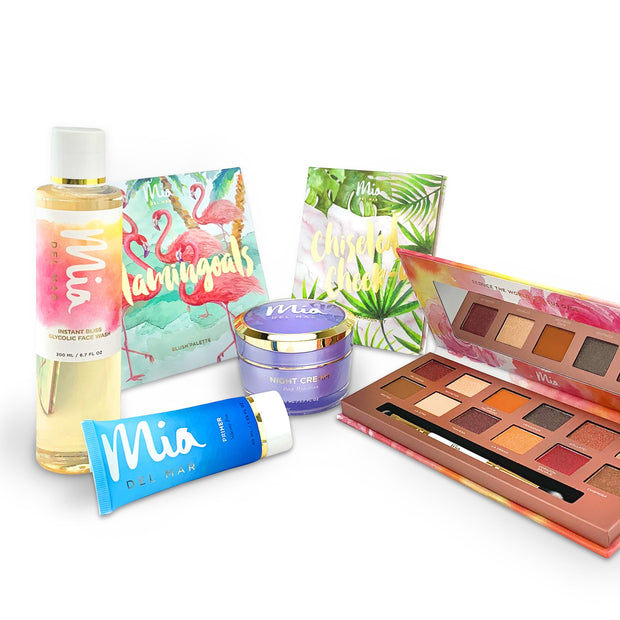 The Complete Mia Experience includes Overnight Miracle Glow Night cream, instant bliss glycolic face wash, Marvelous Silicone-Free primer, Contour highlight kit, flamingoals blush palette & 1 eyeshadow palette (cafecito, noverela, life is a fiesta)