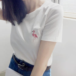 Flamingo Embroidery T-Shirts,artistic bae review, artisticbae reviews, artistic bae reviews, artsy clothing  - Artistic Bae