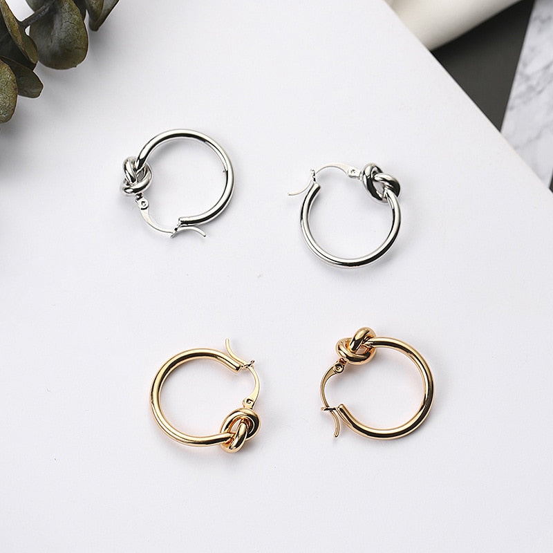 Knotted Circle Stud Earrings,artistic bae review, artisticbae reviews, artistic bae reviews, artsy clothing  - Artistic Bae