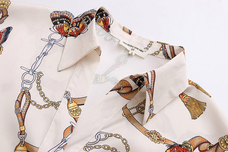 Vintage Chain Butterfly Blouse