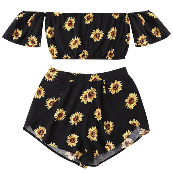 Sunflower Off Shoulder Crop Top Set - Black Color,artistic bae review, artisticbae reviews, artistic bae reviews, artsy clothing  - Artistic Bae