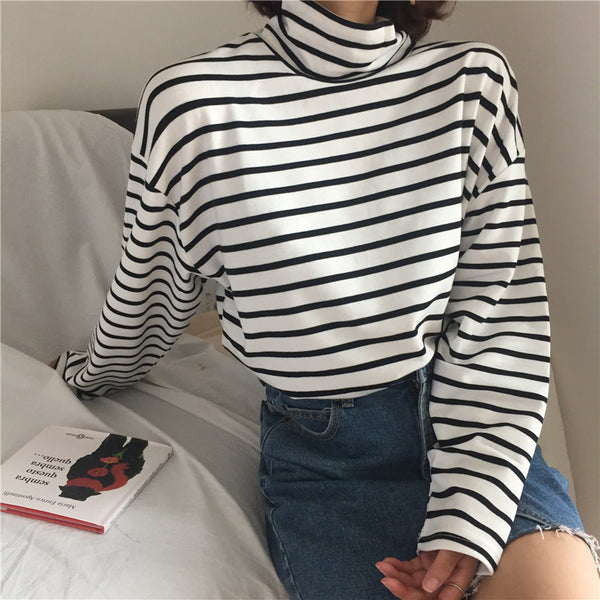 Retro Stripe Turtleneck Long Sleeve Shirt,artistic bae review, artisticbae reviews, artistic bae reviews, artsy clothing  - Artistic Bae