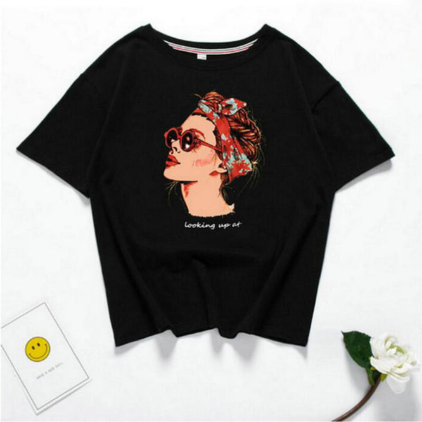2018 Looking Up Cartoon Woman T-Shirt,artistic bae review, artisticbae reviews, artistic bae reviews, artsy clothing  - Artistic Bae