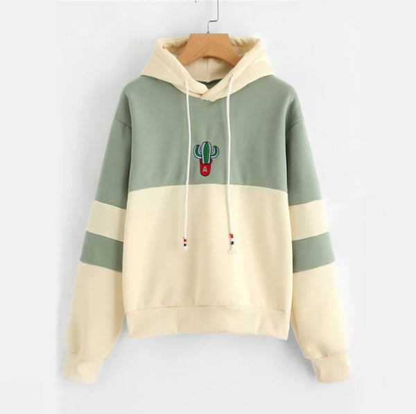 Cactus Embroidered Drawstring Hoodie Pullovers,artistic bae review, artisticbae reviews, artistic bae reviews, artsy clothing  - Artistic Bae