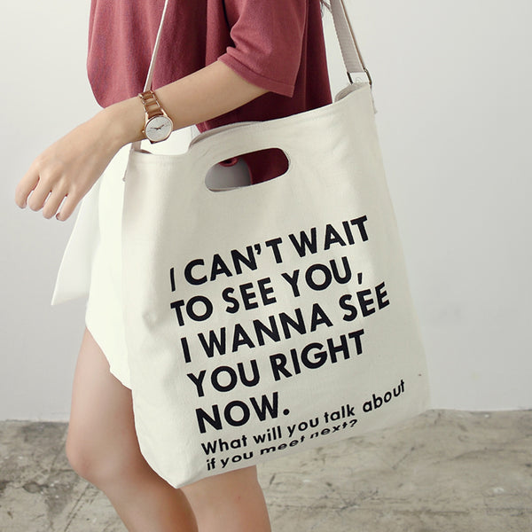 """I Wanna See You Right Now"" Tote Bag,artistic bae review, artisticbae reviews, artistic bae reviews, artsy clothing  - Artistic Bae"