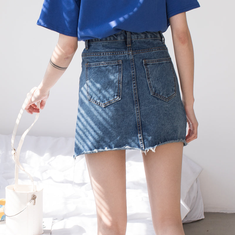 High Waist Denim Skirt,artistic bae review, artisticbae reviews, artistic bae reviews, artsy clothing  - Artistic Bae