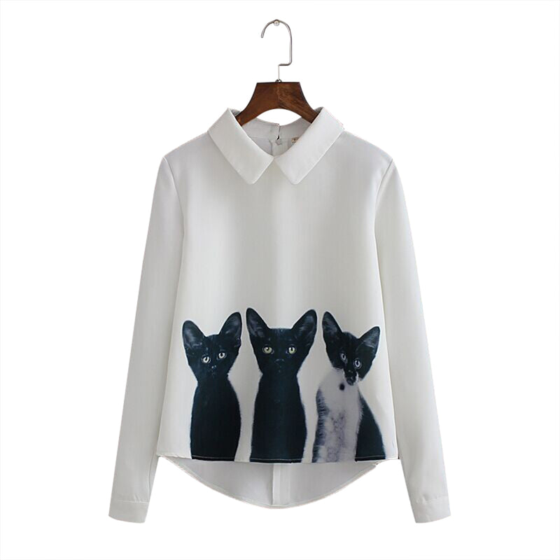 Cute Three Little Cats Chiffon Shirt,artistic bae review, artisticbae reviews, artistic bae reviews, artsy clothing  - Artistic Bae
